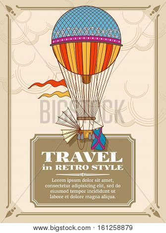Air hot balloons in sky vector background. Freedom vintage transport balloon, illustration of card with air hot balloon