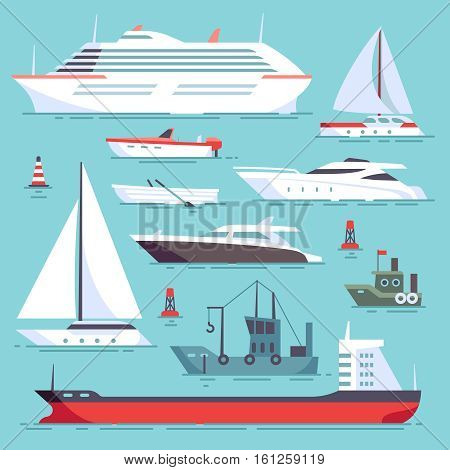 Ships at sea, shipping boats, ocean transport vector icons set. Ocean ship collection, illustration of sea cruise ships