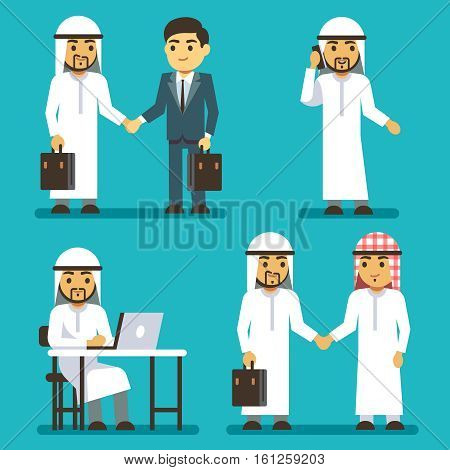 Arabian businessman characters at work in office vector saudi people set. Business arab in clothing traditional, saudi arab man illustration