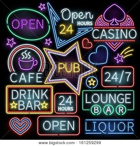 Neon bar illumination vector signs. Illuminated neon cafe and casino, sign neon open illustration