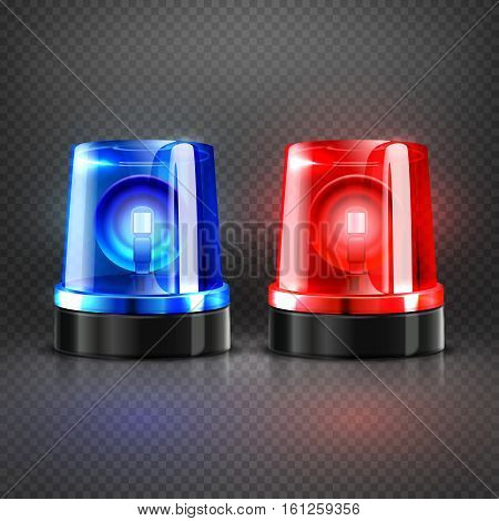 Realistic police ambulance flashing red and blue sirens isolated vector illustration. Flash light lamp for police car or flasher to ambulance