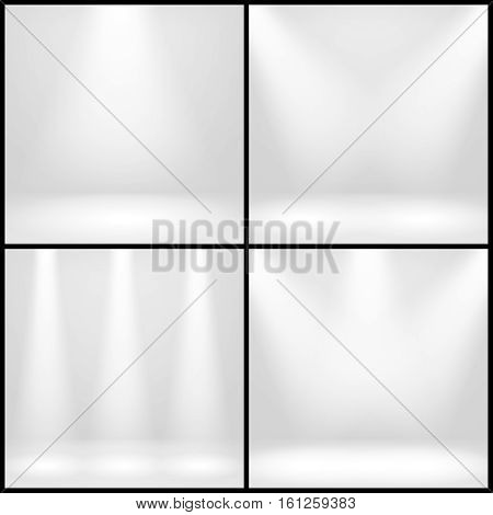 Empty white interior, photo studio room with lamps vector backgrounds set. Illuminated room for presentation, illustration of illuminated space