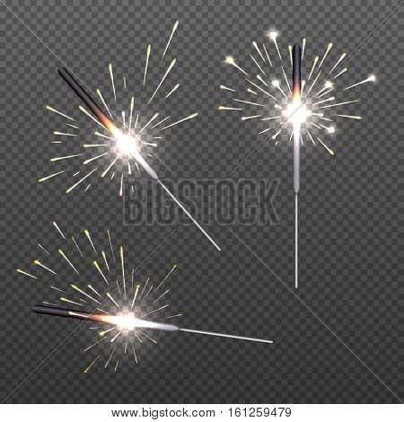 Closeup isolated sparkler shine bengal lights for holiday decor. Stick with bengal light, bright holiday glitter bengal light illustration
