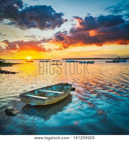 Fishing boat at sunset time.  Mauritius.
