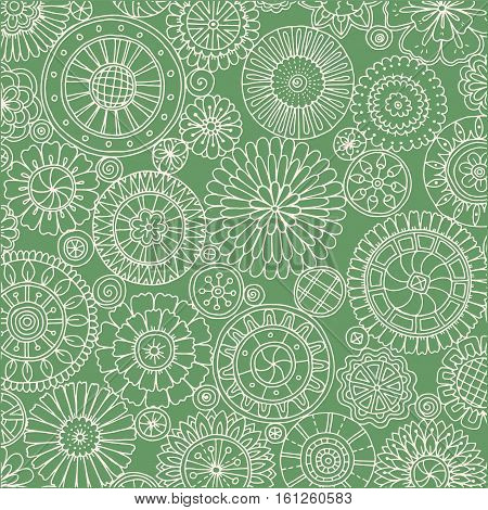 Seamless ornamental pattern with stylized with abstract flowers and zentangle mandala. Ethnic floral design template can be used for wallpaper, pattern fills, textile, fabric, wrapping, surface textures