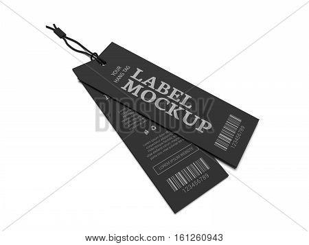Label mockup for cloth branding. 3D illustration mock-up.