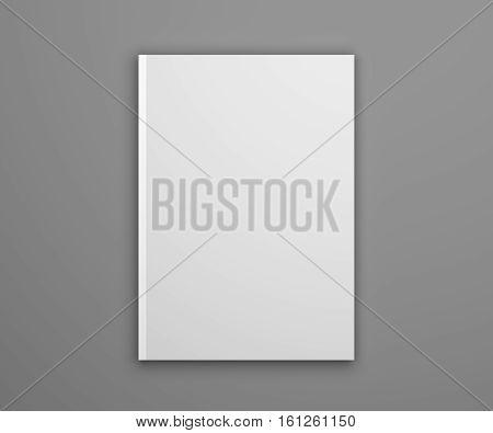 Notepad mockup on gray. Photorealistic 3D illustration mock-up.