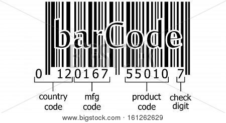 decoding numeric code barcode symbol decoding the numbers on the bar, code, vector template