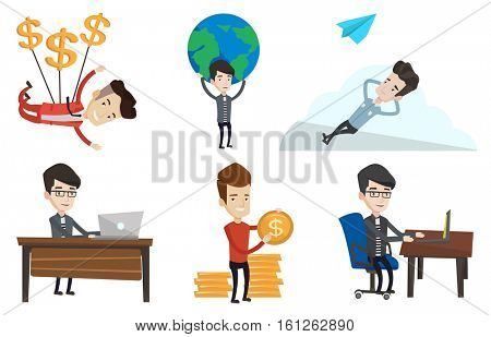 Young office worker working on laptop. Caucasian office worker sitting at the table and using laptop. Happy office worker at work. Set of vector flat design illustrations isolated on white background.