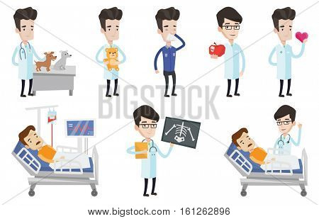 Caucasian doctor visiting patient at hospital. Doctor talking with patient lying in hospital bed. Patient resting in hospital bed. Set of vector flat design illustrations isolated on white background.