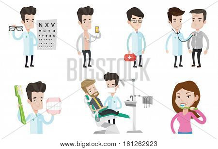 Man sitting in dental chair. Doctor and patient in dental clinic. Patient on reception at the dentist. Patient visiting dentist. Set of vector flat design illustrations isolated on white background.