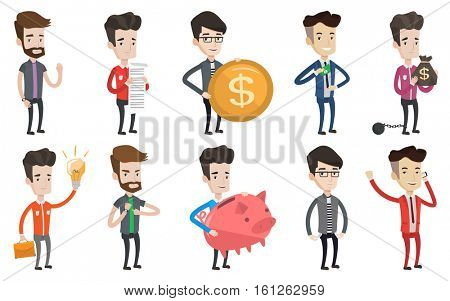 Bankrupt businessman showing his empty pockets. Bankrupt businessman turning his empty pockets inside out. Bankruptcy concept. Set of vector flat design illustrations isolated on white background.