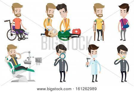 An injured man with leg in plaster. Man with bandaged broken leg using crutches. Young man with broken leg sitting in wheelchair. Set of vector flat design illustrations isolated on white background.