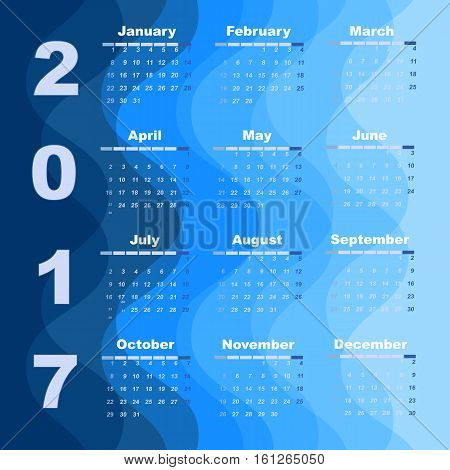 Design wave 2017 calendar template stock vector