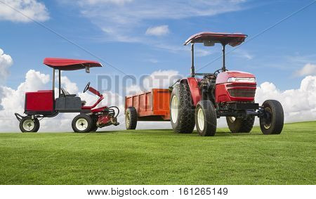 Red Tractor And Mowers With Trailer