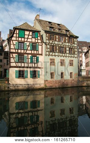 Picturesque half-timbered houses in La Petite France, Strasbourg