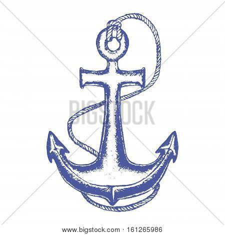 Nautical Anchor and Rope Hand Draw Sketch Equipment Yacht or Ship. Retro Vintage Style. Vector illustration