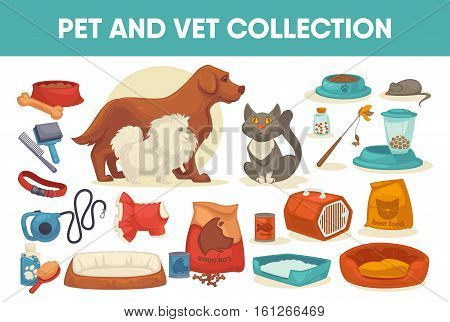 Dog cat pet stuff and supply set icons. Flat vector illustration. Domestic animals, puppy toy and things for care isolated collection.