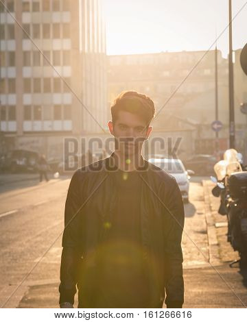 Beautiful Young Man Posing In An Urban Context