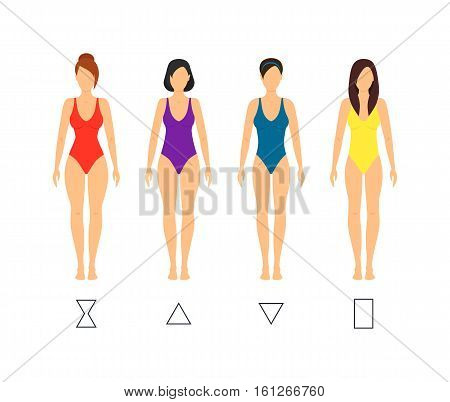 Cartoon Female Body Shape Types Woman Anatomy Figure Constitution Flat Design Style. Vector illustration