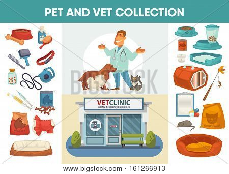 Veterinary medicine hospital, clinic or pet shop for animals design elements for pet feeding or care. Vet or veterinarian clinic. Healthcare or treatment for wild or domestic animals. Facade exterior view