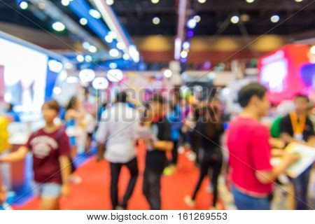 Blurred Of People Shopping In Exhibition Hall Or Shopping Centre
