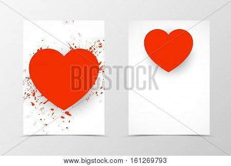 Front and back lovely template design. Abstract template with red heart and splash texture in grunge style. Vector illustration