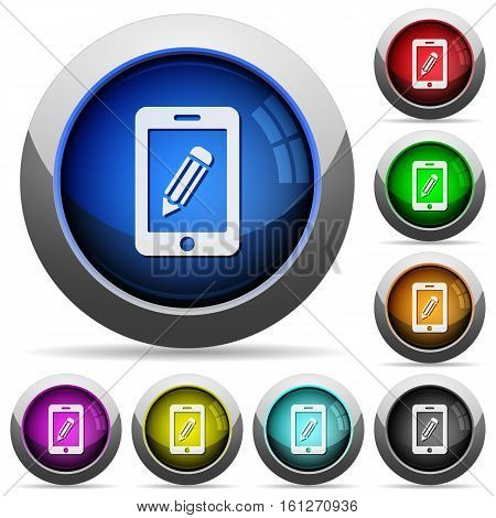 Smartphone memo icons in round glossy buttons with steel frames