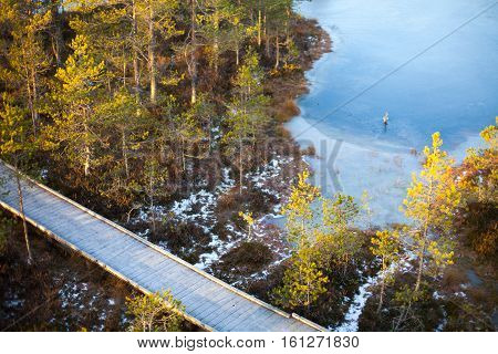 Aerial view of a winter bog landscape with icy blue waters, green pine trees and a boardwalk covered in snow at sunset