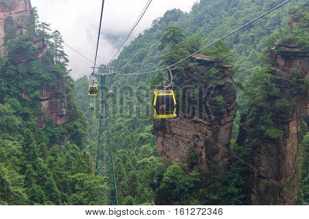 Cable Car With Mist In Tianmen Mountain Zhangjiajie National Park, Hunan Province, China
