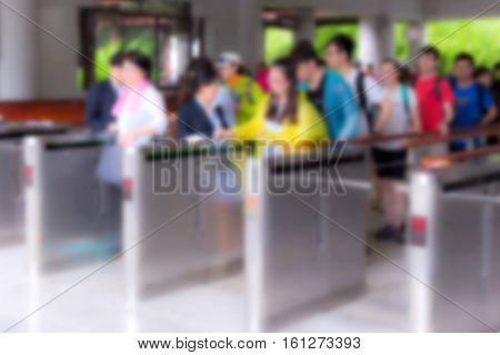 Blur People At Queue In Front Of Exhibition Gate, Abstract Blurred Background