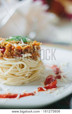 Vegatarian Spaghetti With Soya Mince And Tomato Sauce