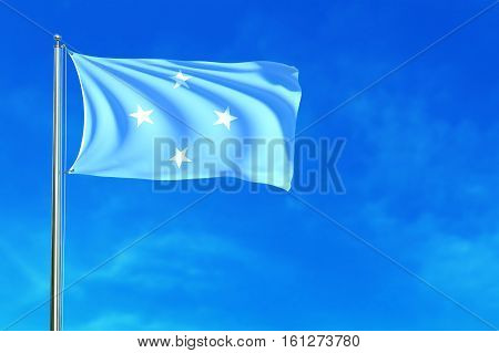 Flag of Micronesia on the blue sky background. 3D illustration