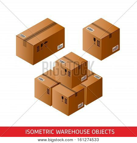 Isometric cardboard boxes sealed with Tape Dispenser. 3D vector warehouse objects isolated on white. Delivery shipping packaging concept. Storage items. Brown carton crates. Logistic theme