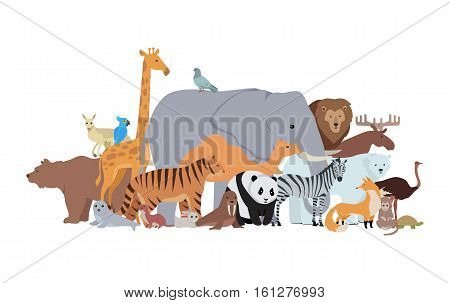 Animals of different spices banner. Elk zebra hamster tiger panda ostrich deer beaver kangaroo mouse wolf bear dove, monkey, panda, giraffe, fox, rabbit, lion, walrus, turtle. Zoo poster. Vector