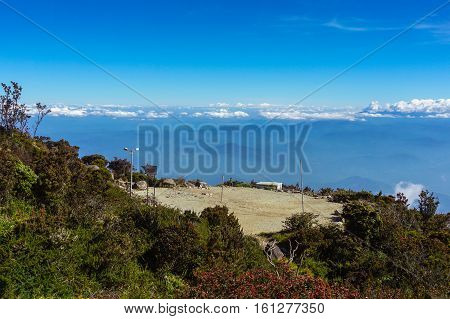 The clearing is a view deck,a helipad,a volleyball court and is the staging point for the summit assault at Laban Rata,near the top of Mount Kinabalu in Sabah.