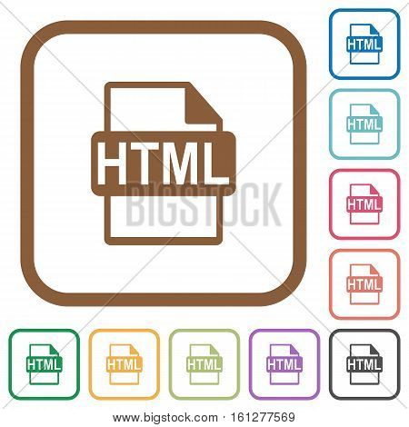 HTML file format simple icons in color rounded square frames on white background