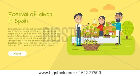 Festival of olives in Spain web banner. Flat style design. Spain entertainment festival. People sale olives and olive oil at market. Best price. Man and woman. Holiday event. Vector illustration