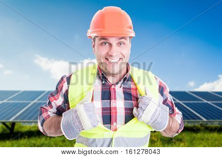 Cheerful Male Engineer Acting Like Super Hero
