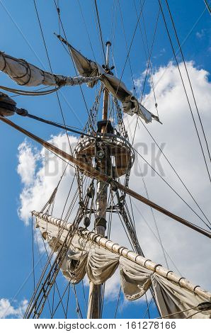 Mast with sails of an old sailing vessel