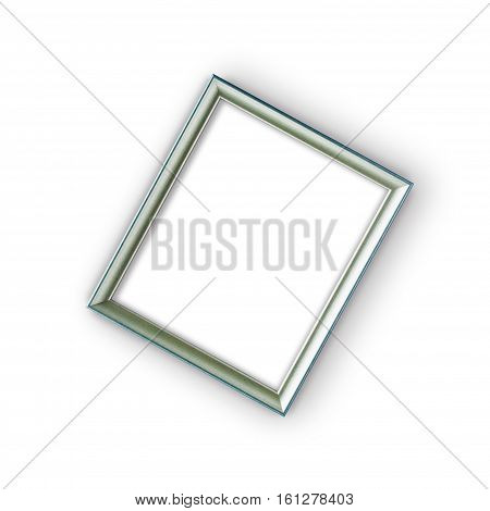 Silver wooden frame isolated on white background. Art gallery. Single object with clipping path