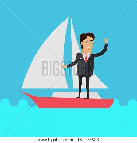 Young businessman in black business suit and tie stand on sailing yacht. Summer vacation at sea concept. Business people. Yacht trip. Vector illustration in flat design.