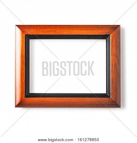 Noble wooden frame isolated on white background. Art gallery. Single object with clipping path
