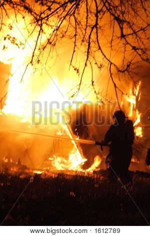Fireman And A Huge Fire