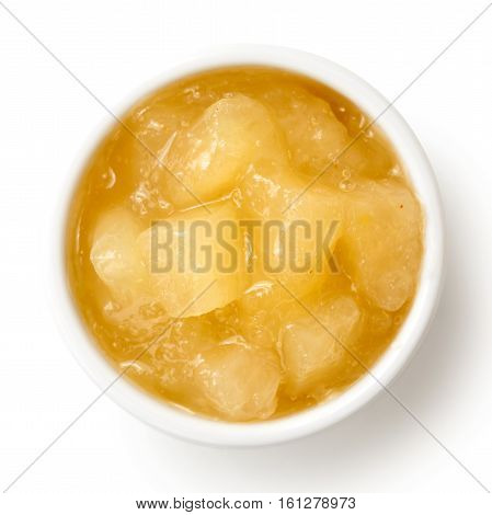 Bramley Apple Sauce In Ceramic Bowl Isolated On White From Above.