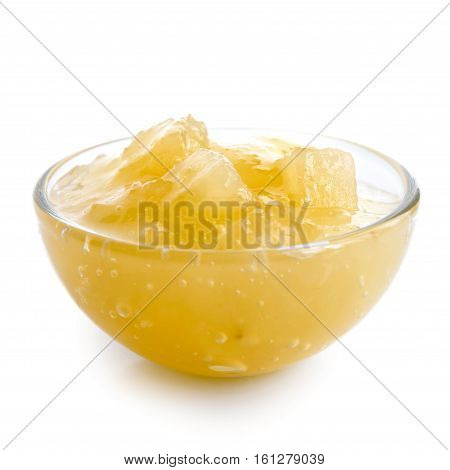 Bramley Apple Sauce In Glass Bowl Isolated On White.