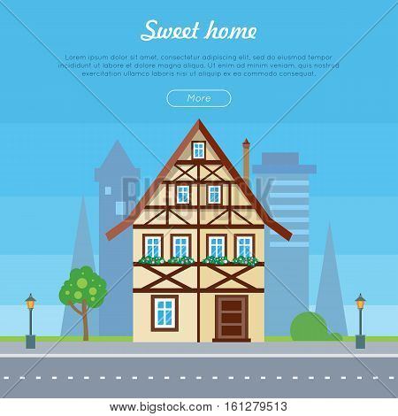 Sweet home house banner poster template. Exterior home icon with city sillhouette. Residential cottage. Modern buildings in flat design style. Real estate concept. Fashionable country building. Vector