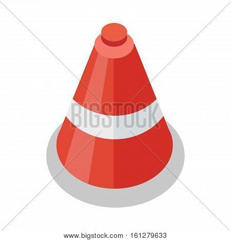 Traffic cone icon in flat. Safety and attention, danger, warning symbol. Drive Safety. Tools symbol. Road cone. Isolated vector illustration on white background.