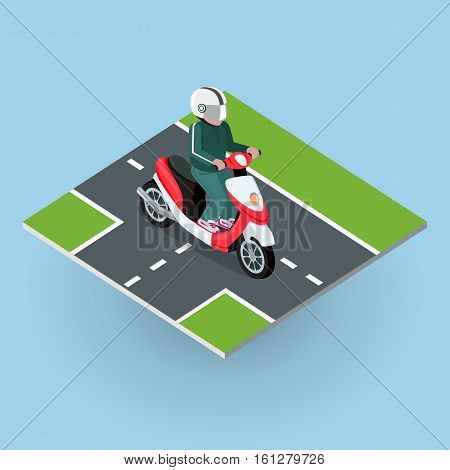 Touring moped. Motor bike on the road. Top view on motorized bicycle. Flat 3d isometric high quality city moped design. Motorcycle or autobike dirtbike . Part of series of city isometric. Vector