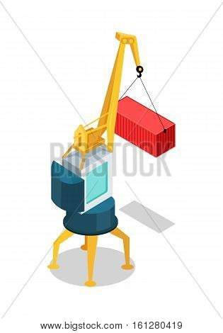 Crane with cargo container isolated. Machine, equipped with hoist rope, wire ropes or chains, and sheaves, used to lift and lower heavy things and transporting them to other places. Vector